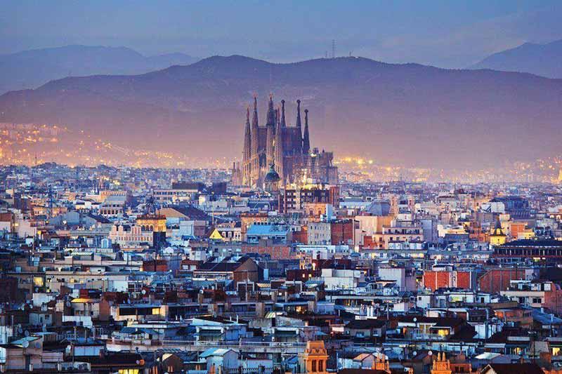Vista da cidade de Barcelona no inverno