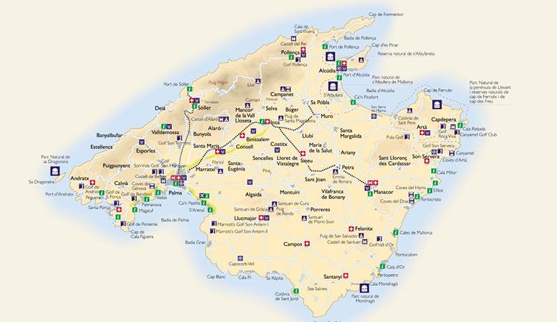 Mapa com as melhores praias em Maiorca