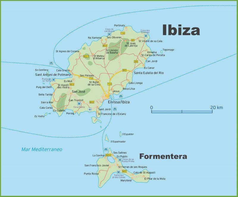 Mapa turístico de Ibiza