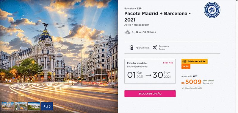 Pacote Hurb para Madrid + Barcelona por R$ 5.009