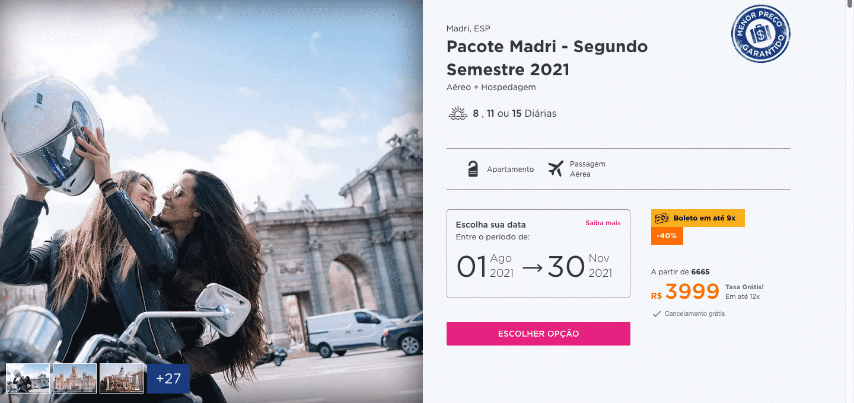 Pacote Hurb para Madri - Segundo Semestre 2021 por R$ 3.999