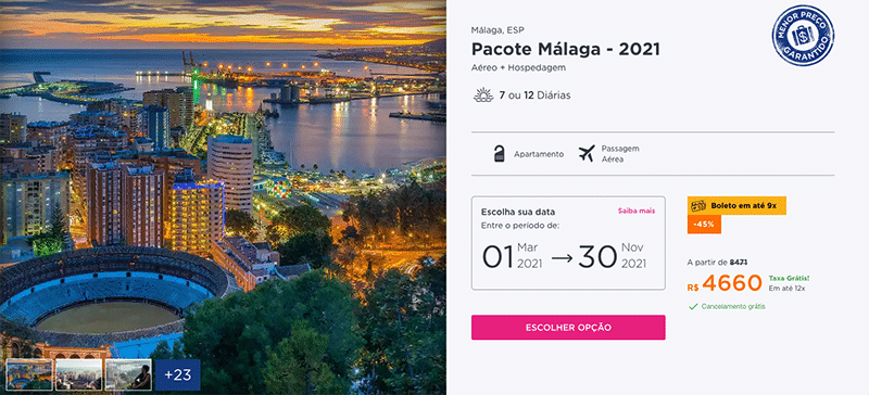 Pacote Hurb para Málaga por R$ 4.660