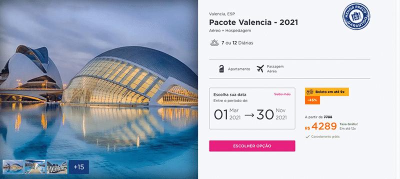 Pacote Hurb para Valência por R$ 4.289