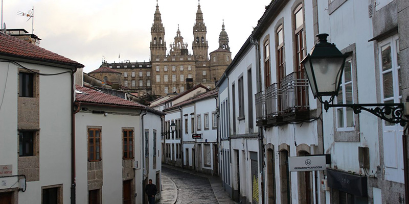 Ruas de Santiago de Compostela durante o inverno